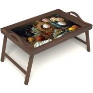 Столик для завтрака в постель «Русская берёза», «Изобилие» с ручками цвет орех