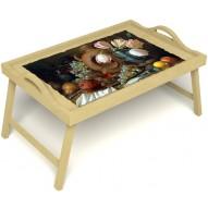 Столик для завтрака в постель «Русская берёза», «Изобилие» с ручками цвет светлый