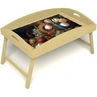 Столик для завтрака в постель «Русская берёза», «Изобилие» с высоким бортиком цвет светлый