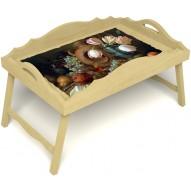 Столик для завтрака в постель «Русская берёза», «Изобилие» с фигурным бортиком цвет светлый