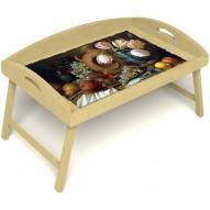 Столик для завтрака в постель «Русская берёза», «Изобилие» с 3-мя высокими бортиками цвет светлый