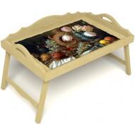 Столик для завтрака в постель «Русская берёза», «Изобилие» с 3-мя фигурными бортиками цвет светлый