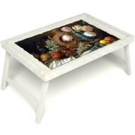 Столик для завтрака в постель «Русская берёза», «Изобилие» без ручек цвет белый