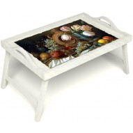 Столик для завтрака в постель «Изобилие» с ручками цвет белый