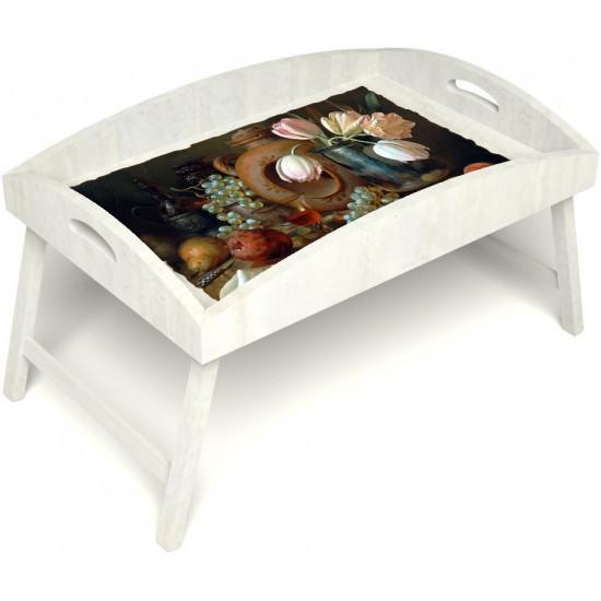 Столик для завтрака в постель «Русская берёза», «Изобилие» с высоким бортиком цвет белый