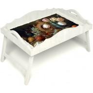 Столик для завтрака в постель «Русская берёза», «Изобилие» с фигурным бортиком цвет белый