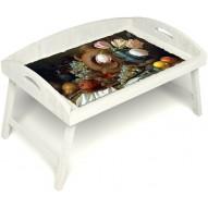 Столик для завтрака в постель «Русская берёза», «Изобилие» с 3-мя высокими бортиками цвет белый