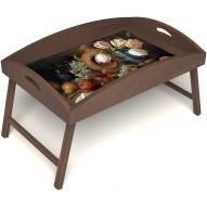Столик для завтрака в постель «Русская берёза», «Изобилие» с высоким бортиком цвет орех
