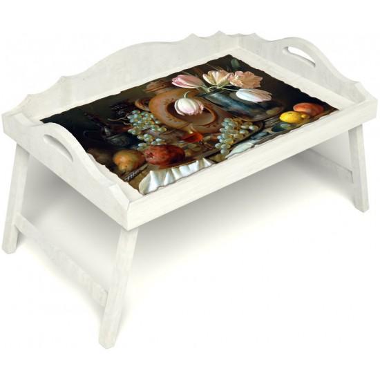 Столик для завтрака в постель «Русская берёза», «Изобилие» с 3-мя фигурными бортиками цвет белый