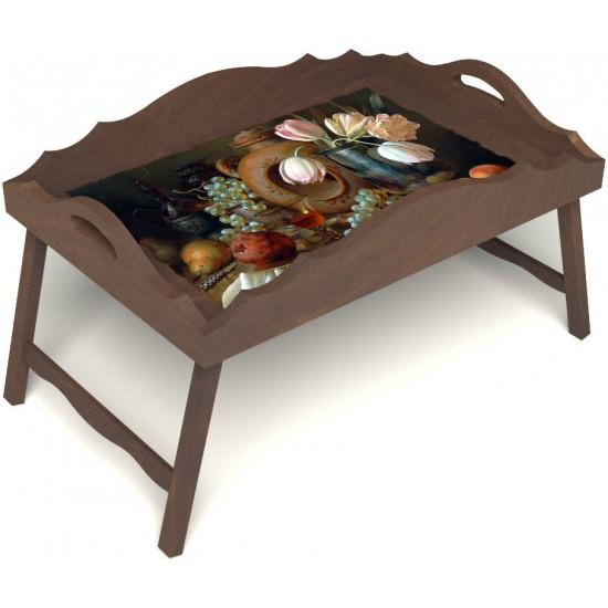 Столик для завтрака в постель «Русская берёза», «Изобилие» с фигурным бортиком цвет орех