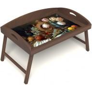 Столик для завтрака в постель «Русская берёза», «Изобилие» с 3-мя высокими бортиками цвет орех