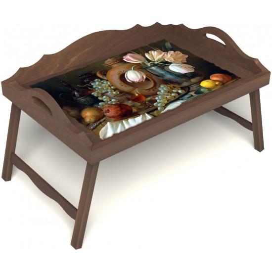 Столик для завтрака в постель «Русская берёза», «Изобилие» с 3-мя фигурными бортиками цвет орех