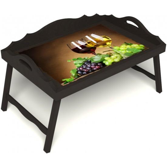 Столик для завтрака в постель «Русская берёза», «Красное и белое» с 3-мя фигурными бортиками цвет венге