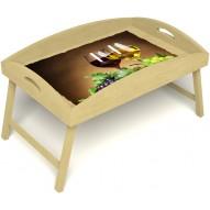 Столик для завтрака в постель «Русская берёза», «Красное и белое» с высоким бортиком цвет светлый