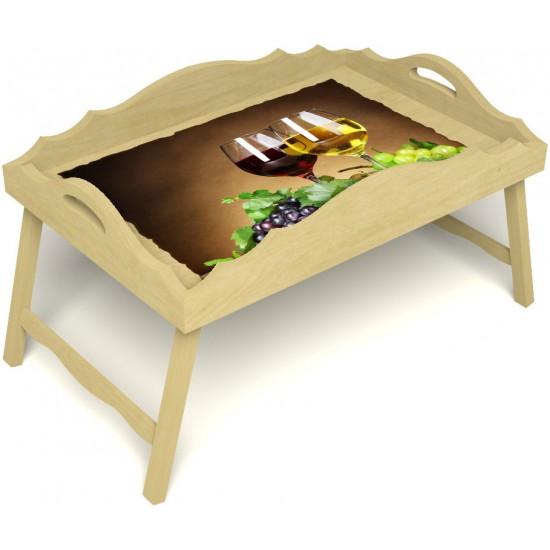 Столик для завтрака в постель «Русская берёза», «Красное и белое» с фигурным бортиком цвет светлый