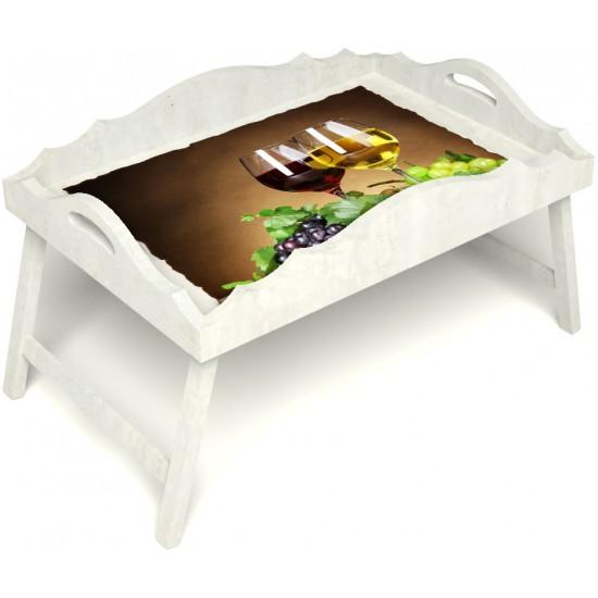 Столик для завтрака в постель «Русская берёза», «Красное и белое» с фигурным бортиком цвет белый