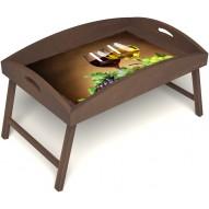 Столик для завтрака в постель «Русская берёза», «Красное и белое» с высоким бортиком цвет орех