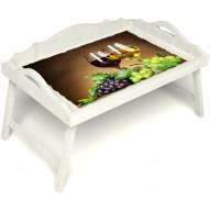 Столик для завтрака в постель «Русская берёза», «Красное и белое» с 3-мя фигурными бортиками цвет белый