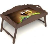 Столик для завтрака в постель «Русская берёза», «Красное и белое» с фигурным бортиком цвет орех