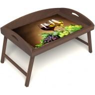 Столик для завтрака в постель «Русская берёза», «Красное и белое» с 3-мя высокими бортиками цвет орех