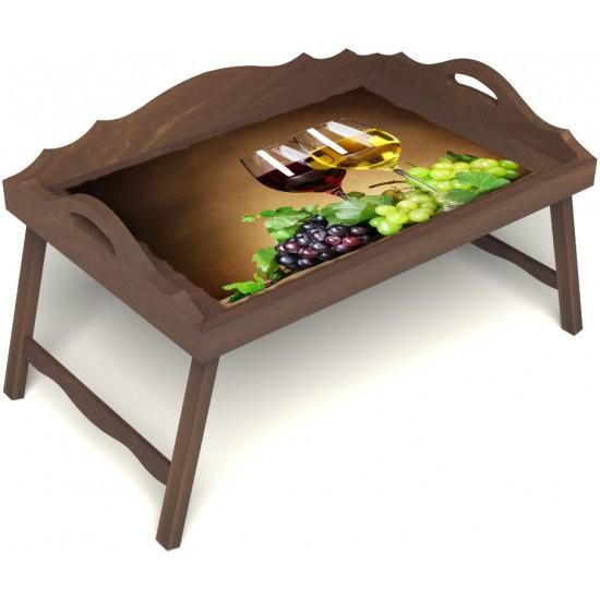 Столик для завтрака в постель «Русская берёза», «Красное и белое» с 3-мя фигурными бортиками цвет орех
