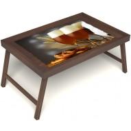 Столик для завтрака в постель «Русская берёза», «Оле-оле» без ручек цвет орех