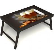 Столик для завтрака в постель «Русская берёза», «Оле-оле» без ручек цвет венге