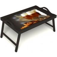 Столик для завтрака в постель «Оле-оле» с ручками цвет венге
