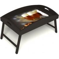 Столик для завтрака в постель «Русская берёза», «Оле-оле» с высоким бортиком цвет венге