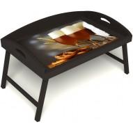 Столик для завтрака в постель «Русская берёза», «Оле-оле» с 3-мя высокими бортиками цвет венге
