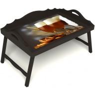 Столик для завтрака в постель «Русская берёза», «Оле-оле» с 3-мя фигурными бортиками цвет венге
