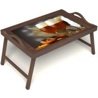 Столик для завтрака в постель «Оле-оле» с ручками цвет орех