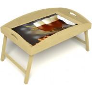 Столик для завтрака в постель «Русская берёза», «Оле-оле» с высоким бортиком цвет светлый