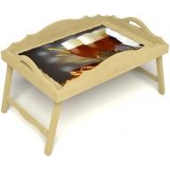 Столик для завтрака в постель «Русская берёза», «Оле-оле» с фигурным бортиком цвет светлый