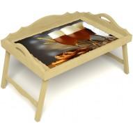 Столик для завтрака в постель «Русская берёза», «Оле-оле» с 3-мя фигурными бортиками цвет светлый