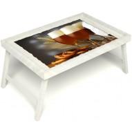 Столик для завтрака в постель «Русская берёза», «Оле-оле» без ручек цвет белый