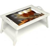 Столик для завтрака в постель «Оле-оле» с ручками цвет белый
