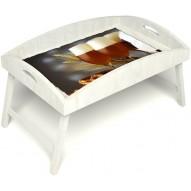 Столик для завтрака в постель «Русская берёза», «Оле-оле» с высоким бортиком цвет белый