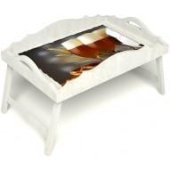 Столик для завтрака в постель «Русская берёза», «Оле-оле» с фигурным бортиком цвет белый