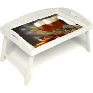Столик для завтрака в постель «Русская берёза», «Оле-оле» с 3-мя высокими бортиками цвет белый
