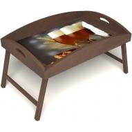 Столик для завтрака в постель «Русская берёза», «Оле-оле» с высоким бортиком цвет орех