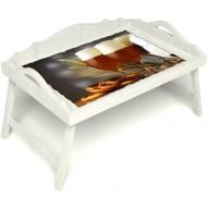 Столик для завтрака в постель «Русская берёза», «Оле-оле» с 3-мя фигурными бортиками цвет белый