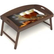 Столик для завтрака в постель «Русская берёза», «Оле-оле» с 3-мя высокими бортиками цвет орех
