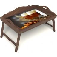 Столик для завтрака в постель «Оле-оле» с 3-мя фигурными бортиками цвет орех