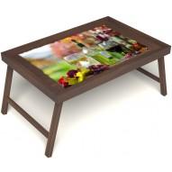 Столик для завтрака в постель «Русская берёза», «Осенний пикник» без ручек цвет орех