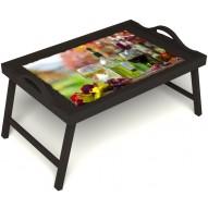 Столик для завтрака в постель «Осенний пикник» с ручками цвет венге