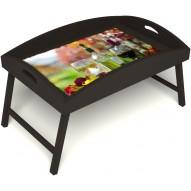 Столик для завтрака в постель «Русская берёза», «Осенний пикник» с высоким бортиком цвет венге