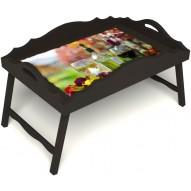 Столик для завтрака в постель «Русская берёза», «Осенний пикник» с фигурным бортиком цвет венге