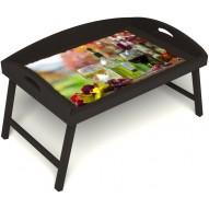 Столик для завтрака в постель «Русская берёза», «Осенний пикник» с 3-мя высокими бортиками цвет венге