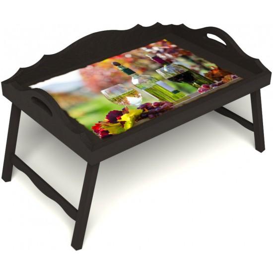 Столик для завтрака в постель «Русская берёза», «Осенний пикник» с 3-мя фигурными бортиками цвет венге